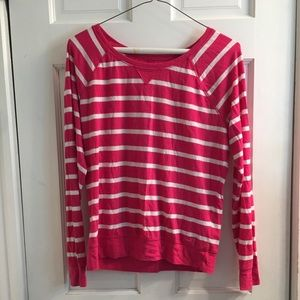 Pink and white striped long sleeve shirt